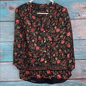 Lucky Brand Floral Silk Button Up Shirt Small
